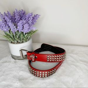 Hot Topic Red, Black & Silver Studded Belt Size 30